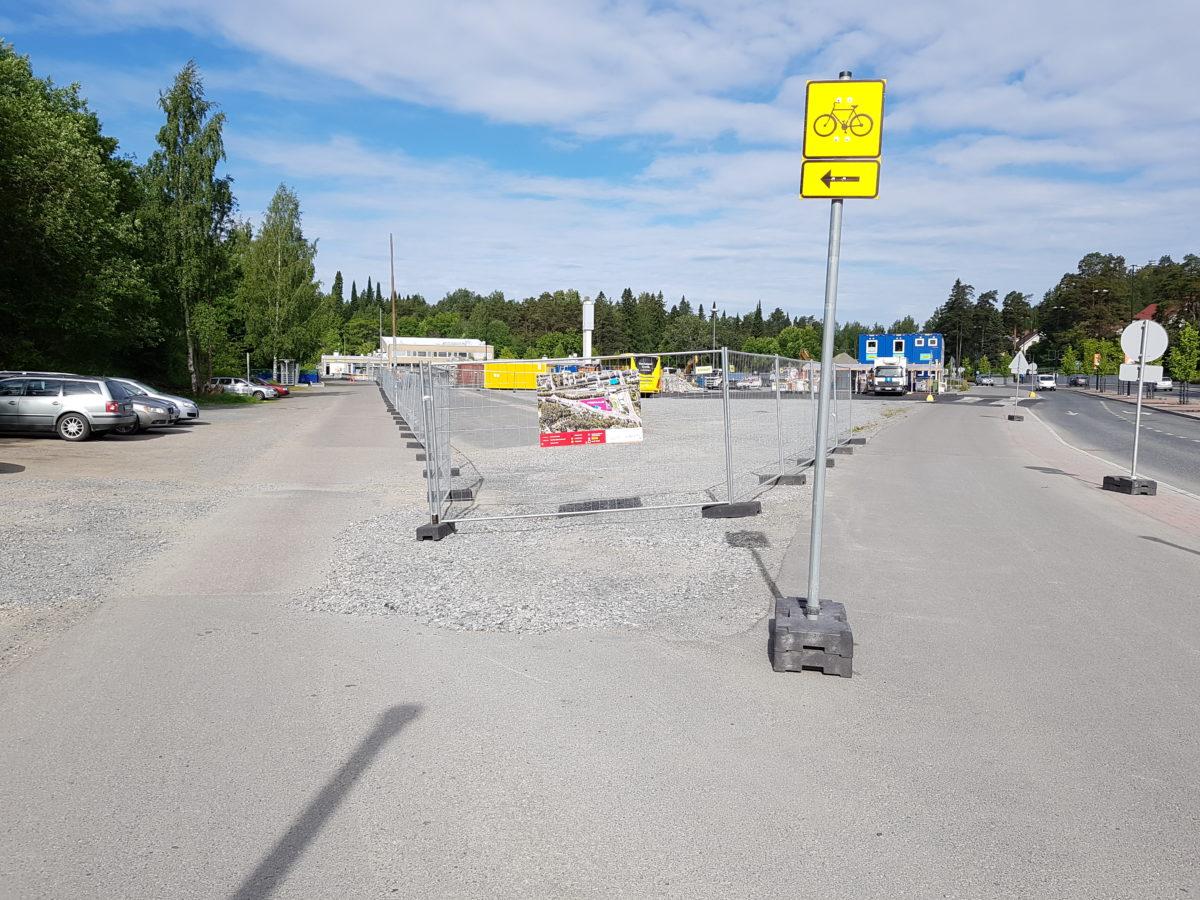 Kuopionportin työmaan opaste kesäkuussa 2018